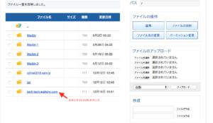 ファイルの管理画面から自分のサイトURLをクリック